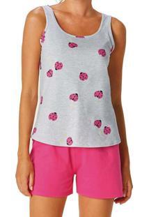 Pijama Feminino Malwee 1000085592 Bj13A-Cinza-Mesc