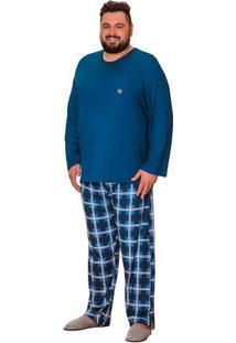 Pijama Longo Plus Size Masculino Xadrez Luna Cuore