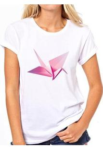 Camiseta Coolest Origami Feminina - Feminino-Branco