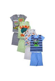Kit 4 Pijama Infantil Masculino Algodão Sortidos