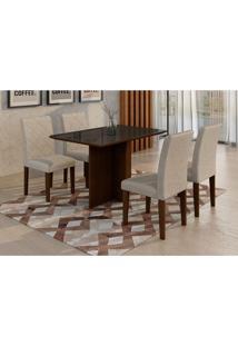 Conjunto De Mesa De Jantar Com 4 Cadeiras Ane Suede Castor E Preto