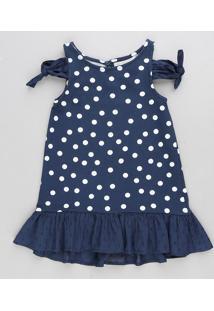 Vestido Infantil Open Shoulder Estampado De Poá Com Nó E Babado Azul Marinho