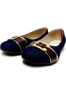 Sapatilha Buffone Comfort Jeans Dourada