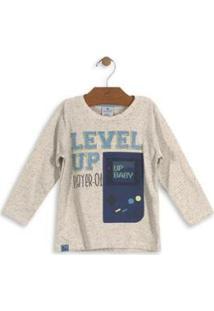 Camisa Meia Malha Botonê Infantil Up Baby - Masculino-Bege