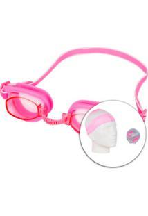 Kit De Natação Speedo Swim Com Óculos + Touca + Protetor De Ouvido - Adulto - Rosa