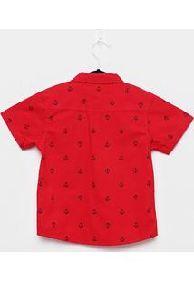Camisa Infantil Rovitex Náutico Masculina - Masculino-Vermelho