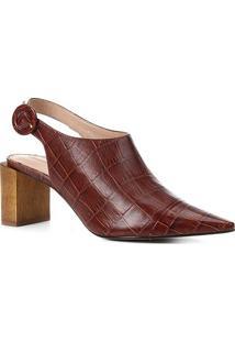 Ankle Boot Couro Shoestock Bico Fino Croco Fivela Salto Madeira - Feminino-Tabaco