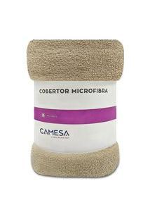 Manta Cobertor Queen 220X240Cm Microfibra Soft Macia Fleece Camesa - Emcompre