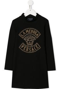 Young Versace Vestido Com Logo E Tachas - Preto