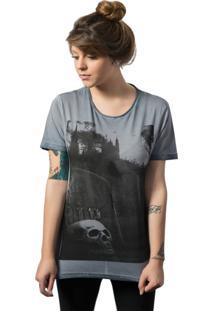 Camiseta Skull Lab Estampa Caveira Azul - Azul/Grafite - Feminino - Algodã£O - Dafiti