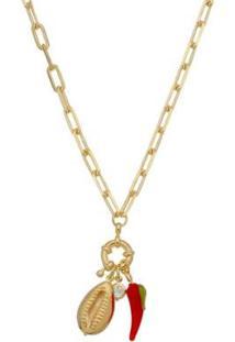 Colar Longo Piuka Hani Amuletos Folheado A Ouro 18K - Feminino-Dourado
