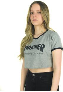 Camiseta Crop Thrasher Magazine Skate Mag Cinza Multicolorido - Cinza - Feminino - Dafiti