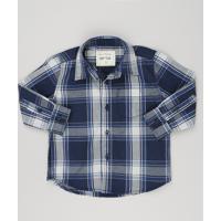 Camisa Infantil Xadrez Manga Longa Com Bolso Azul Marinho b833c6ce67ba1
