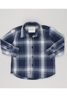 Camisa Infantil Xadrez Manga Longa Com Bolso Azul Marinho