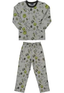 Conjunto Pijamas Infantil Estampado Cinza