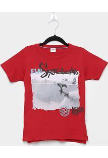 Camiseta Infantil Elian Skate Board Masculina - Masculino-Vermelho Escuro