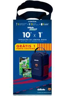 9e00eadcfa Kit Gillette Aparelho De Barbear Mach3 Sensitive + Carga 2 Unidades + Porta  Chuteira