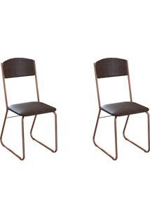 Conjunto Com 2 Cadeiras Byron Tabaco E Cobre