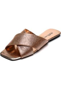 Rasteira Dafiti Shoes Tiras Cruzadas Cobre