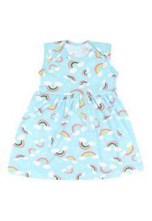 Vestido Bebê Regata Cotton Azul Arco-Íris (P/M/G) - Kappes - Tamanho P - Azul