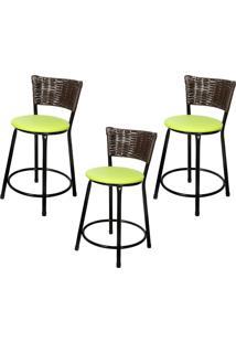 Banquetas Baixa Para Cozinha Hawai Café 3Un Assento Marrom/Verde