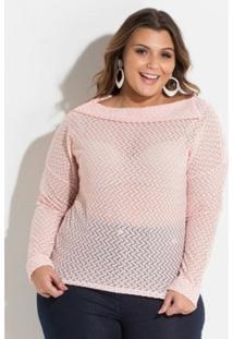 Blusa Plus Size De Renda Quintess Feminina - Feminino-Rosa