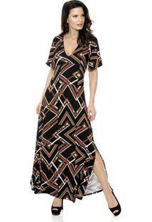 Vestido Bisô Longo Étnico - Feminino-Preto