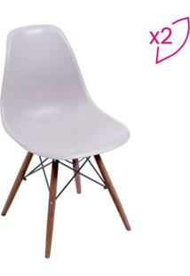 Jogo De Cadeiras Eames Dkr- Fendi & Madeira Escura- Or Design