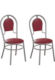 Conjunto Com 2 Cadeiras Hobart Vinho E Cromado