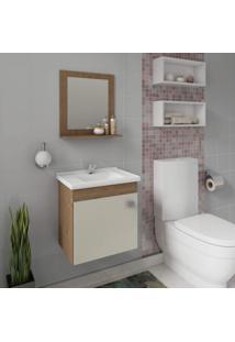 Gabinete Para Banheiro Com Cuba E Espelheira 1 Porta 1 Prateleira Íris Mgm Móveis Branco/Amêndoa/Off White