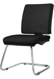Cadeira Simple Assento Crepe Preto Base Fixa Cromada - 54963 Sun House