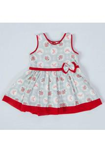 Vestido Infantil Borboletas Vermelho