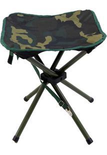 Banqueta Dobrável Stool Camuflado Para Camping Nautika Verde