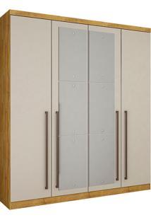Guarda-Roupa Solteiro 4 Portas Com Espelho Hannover-Novo Horizonte - Freijo Dourado / Off White