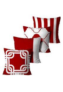 Kit 4 Capas Para Almofadas Decorativas Vermelho 35X35Cm