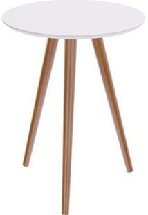 Mesa Lateral Formato Tampo Branco Fosco Com Pes Claros 45 Cm (Larg) - 50118 Sun House