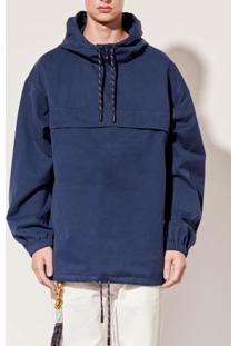 Casaco Masc Capuz Cotton Colors-Azul Escuro - P