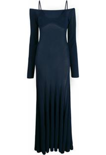Jacquemus Vestido De Tricô Com Pregas - Azul