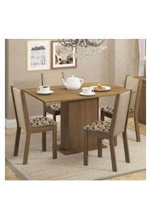 Conjunto Sala De Jantar Madesa Talita Mesa Tampo De Madeira Com 4 Cadeiras Rustic/Crema/Bege Marrom