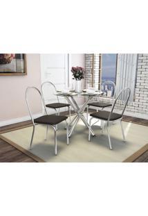 Conjunto De Mesa Com 4 Cadeiras Crome Cromado E Marrom Kappesberg - Marrom - Dafiti