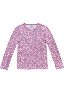 Pijama Longo Hering Gatos Corações Moletinho Feminino - Feminino