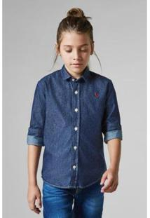 Camisa Masculina Infantil Mini Cont Ae Easy Oxford Denim Ml Reserva Mini - Masculino-Azul Petróleo