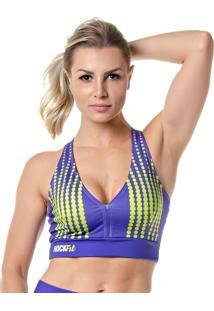 Top Fitness Feminino Rock Fit Purpple Bubbles
