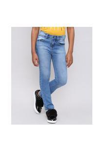Calça Jeans Infantil Com Bolsos Azul Médio