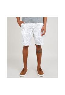 Bermuda De Sarja Masculina Relaxed Estampada De Folhagens Com Bolso E Cordão Branco