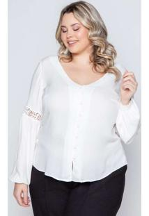 Camisa Almaria Plus Size Pianeta Renda Branco