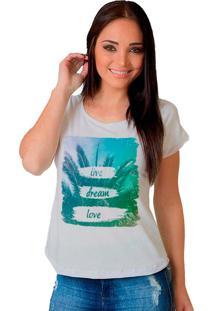 Camiseta Shop225 Live Dream Love Branco