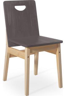Cadeira Jantar De Madeira Tucupi 40X51X81Cm - Acabamento Stain Natural E Grafite