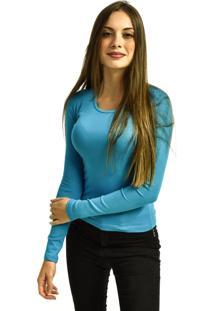 Camiseta Nakia Manga Longa Básica Feminina Lisa Malha Azul Claro