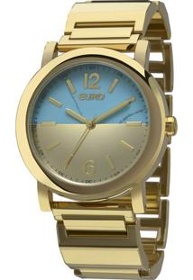 Kit Relógio Euro Analógico Feminino Aço Turquesa Dourado - Eu2033Ai/K4D Largura Da Caixa (Cm) 4,0